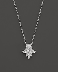 Bloomingdale's Diamond Hamsa Pendant Necklace In 14K White Gold .15 Ct. T.W.
