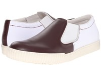 Marni Canvas Leather Slip On Sneaker Bordeaux White Men's Shoes Red