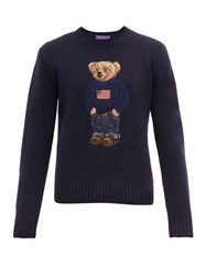Ralph Lauren Purple Label Polo Bear Intarsia Cashmere Sweater Navy