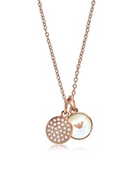 Emporio Armani Signature Rose Goldtone Necklace W Double Charms Pink