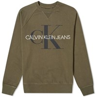 Calvin Klein Washed Monogram Crew Sweat Green