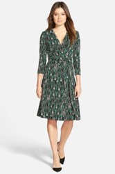 Hugo Boss 'Eufina' Print Surplice Jersey Dress Green