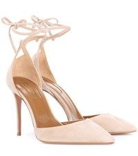 Aquazzura Heart Breaker 105 Suede Pumps Beige