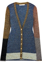 Christopher Kane Color Block Metallic Stretch Knit Cardigan Blue