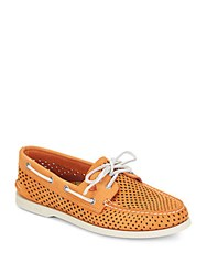 Sperry A O 2 Eye Perforated Leather Boat Shoes Orange