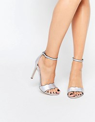 Faith Leah Silver Wavy Heeled Sandals Silver