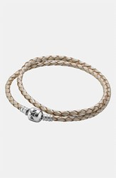Pandora Design Women's Pandora Leather Wrap Charm Bracelet Champagne
