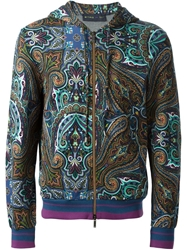 Etro Paisley Print Hooded Bomber Jacket Blue
