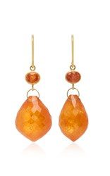 Mallary Marks Apple And Eve 18K Gold Sapphire And Briolette Earrings Orange