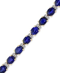 Effy Collection Velvet Bleu By Effy Manufactured Diffused Sapphire 12 Ct. T.W. And Diamond 1 4 Ct. T.W. Tennis Bracelet In 14K Gold