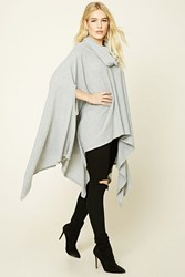 Forever 21 Cowl Neck Poncho Heather Grey