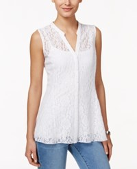 Charter Club Sleeveless Lace Top Only At Macy's Bright White