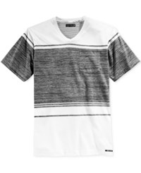 Ocean Current Men's Jaxs Colorblocked Stripe V Neck T Shirt White