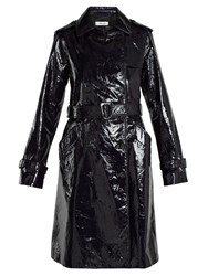 Diane Von Furstenberg Double Breasted Patent Leather Trench Coat Navy