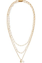 Marc Jacobs Gold Plated Faux Pearl Necklace Gold Cream