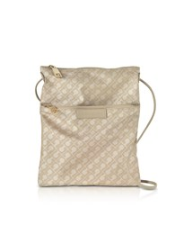 Gherardini Handbags Clay Signature Fabric And Leather Softy Crossbody Bag W Zip Front Pocket