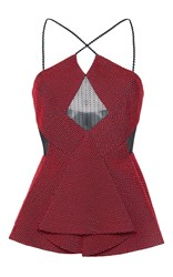 Roland Mouret Deaton Chevron Lace Top Red