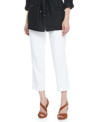 Magaschoni Lined Linen Ankle Pants White