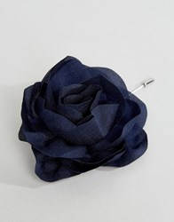 Asos Oversized Chiffon Flower Lapel In Navy Navy