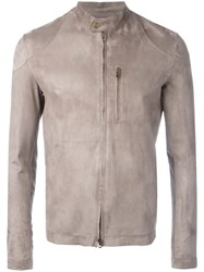 Salvatore Santoro Zipped Leather Jacket Grey