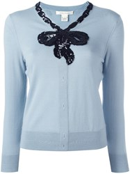 Marc Jacobs Sequinned Bow Jumper Blue