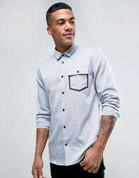 Solid Oxford Shirt With Pocket Taping In Regular Fit Grey