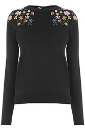 Oasis Forget Me Not Embroidered Knit Black