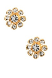 Yochi Design Clear Stone Burst Stud Earrings Metallic