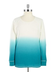 Marc New York Performance Plus Waffle Knit Ombre Shirt Ivory Teal