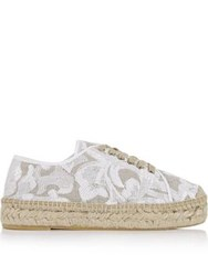 Kanna Path Embroidered Lace Up Espadrilles White