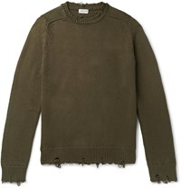 Saint Laurent Slim Fit Distressed Ribbed Cotton Sweater Green