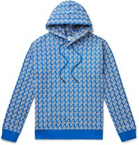 Mcq By Alexander Mcqueen Logo Print Loopback Cotton Jersey Hoodie Blue