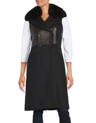 Bcbgmaxazria Fox Fur Trimmed Double Breasted Long Vest Black