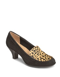 Aerosoles Wise Choice Leather And Leopard Print Calf Hair Loafers Cheetah Combo