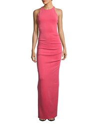 Nicole Miller Crossed Back Column Gown Snap Dragon