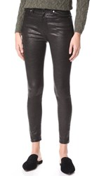 7 For All Mankind The Ankle Skinny Leather Pants Black