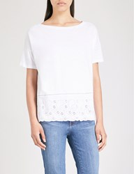 The White Company Broderie Detail Cotton Jersey T Shirt White