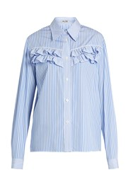 Miu Miu Striped Ruffle Trimmed Cotton Poplin Shirt Blue Stripe