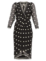 Rebecca Taylor Polka Dot Silk Chiffon Midi Dress Black Multi