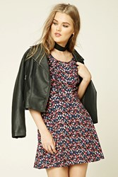 Forever 21 Abstract Belted Dress Black Coral