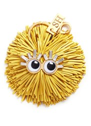 Sophie Hulme 'Scout' Leather Pompom Monster Keyring Yellow