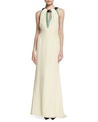 Carolina Herrera Sleeveless Embellished Neckline Gown Porcelain