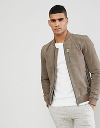 Selected Homme Suede Bomber Tan
