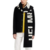 Helmut Lang Logo Double Faced Wool Scarf Black