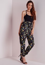 Missguided Floral Print Tie Waist Joggers Black