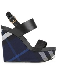 Burberry Checked Wedge Sandals Blue