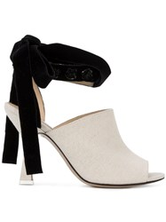 Attico Velvet Bow Mules Nude And Neutrals