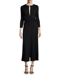 Escada Long Sleeve Draped Front Midi Dress Black