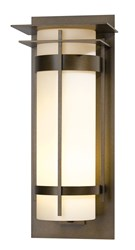 Hubbardton Forge Banded With Top Plate Extra Large Outdoor Sconce Incandescent Bronze Opal Brown