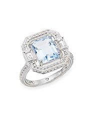 Judith Ripka Avery Blue Quartz Rock Crystal And Sterling Silver Ring Silver Blue